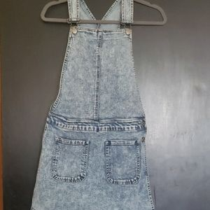 Denim overall mini dress